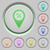 Workshop service GPS map location color icons on sunk push buttons - Workshop service GPS map location push buttons