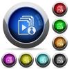 Playlist author round glossy buttons - Playlist author icons in round glossy buttons with steel frames