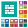 Brick wall square flat multi colored icons - Brick wall multi colored flat icons on plain square backgrounds. Included white and darker icon variations for hover or active effects.