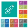 Launched rocket square flat multi colored icons - Launched rocket multi colored flat icons on plain square backgrounds. Included white and darker icon variations for hover or active effects.