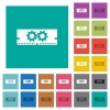 Memory optimization square flat multi colored icons - Memory optimization multi colored flat icons on plain square backgrounds. Included white and darker icon variations for hover or active effects.