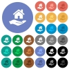 Home insurance round flat multi colored icons - Home insurance multi colored flat icons on round backgrounds. Included white, light and dark icon variations for hover and active status effects, and bonus shades on black backgounds.