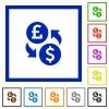Pound Dollar money exchange flat framed icons - Pound Dollar money exchange flat color icons in square frames on white background