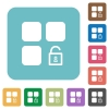 Unlock component rounded square flat icons - Unlock component white flat icons on color rounded square backgrounds