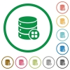 Database modules flat icons with outlines - Database modules flat color icons in round outlines on white background