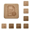 Locked document wooden buttons - Locked document on rounded square carved wooden button styles
