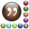 Quotation mark color glass buttons - Quotation mark white icons on round color glass buttons
