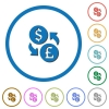 Dollar Pound money exchange icons with shadows and outlines - Dollar Pound money exchange flat color vector icons with shadows in round outlines on white background