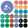 Auction hammer round flat multi colored icons - Auction hammer multi colored flat icons on round backgrounds. Included white, light and dark icon variations for hover and active status effects, and bonus shades on black backgounds.