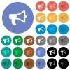 Megaphone round flat multi colored icons - Megaphone multi colored flat icons on round backgrounds. Included white, light and dark icon variations for hover and active status effects, and bonus shades on black backgounds.