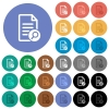Search document round flat multi colored icons - Search document multi colored flat icons on round backgrounds. Included white, light and dark icon variations for hover and active status effects, and bonus shades on black backgounds.
