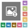 Image processing square flat icons - Image processing flat icons on simple color square backgrounds