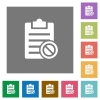 Note disabled square flat icons - Note disabled flat icons on simple color square backgrounds