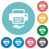 Shared printer flat round icons - Shared printer flat white icons on round color backgrounds