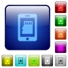 Smartphone memory card color square buttons - Smartphone memory card icons in rounded square color glossy button set