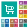 Cart square flat multi colored icons - Cart multi colored flat icons on plain square backgrounds. Included white and darker icon variations for hover or active effects.