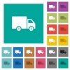 Delivery truck square flat multi colored icons - Delivery truck multi colored flat icons on plain square backgrounds. Included white and darker icon variations for hover or active effects.