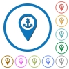 Sea port GPS map location icons with shadows and outlines - Sea port GPS map location flat color vector icons with shadows in round outlines on white background
