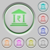 Indian Rupee bank office push buttons - Indian Rupee bank office color icons on sunk push buttons