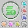 Indian Rupee coins push buttons - Indian Rupee coins color icons on sunk push buttons