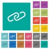 Paperclip multi colored flat icons on plain square backgrounds. Included white and darker icon variations for hover or active effects. - Paperclip square flat multi colored icons
