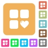 Favorite component rounded square flat icons - Favorite component flat icons on rounded square vivid color backgrounds.