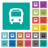Bus square flat multi colored icons - Bus multi colored flat icons on plain square backgrounds. Included white and darker icon variations for hover or active effects.