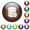 Cloud database color glass buttons - Cloud database white icons on round color glass buttons