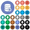 Add to database round flat multi colored icons - Add to database multi colored flat icons on round backgrounds. Included white, light and dark icon variations for hover and active status effects, and bonus shades on black backgounds.