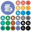 Euro coins round flat multi colored icons - Euro coins multi colored flat icons on round backgrounds. Included white, light and dark icon variations for hover and active status effects, and bonus shades on black backgounds.