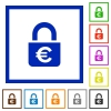 Locked euros flat framed icons - Locked euros flat color icons in square frames on white background