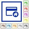 Set credit card as default flat framed icons - Set credit card as default flat color icons in square frames on white background