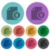 Yen financial report color darker flat icons - Yen financial report darker flat icons on color round background