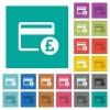 Pound credit card square flat multi colored icons - Pound credit card multi colored flat icons on plain square backgrounds. Included white and darker icon variations for hover or active effects.