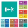 Exit sign square flat multi colored icons - Exit sign multi colored flat icons on plain square backgrounds. Included white and darker icon variations for hover or active effects.