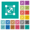 Resize element square flat multi colored icons - Resize element multi colored flat icons on plain square backgrounds. Included white and darker icon variations for hover or active effects.