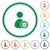 User account protected flat icons with outlines - User account protected flat color icons in round outlines on white background