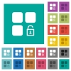 Unlock component square flat multi colored icons - Unlock component multi colored flat icons on plain square backgrounds. Included white and darker icon variations for hover or active effects.