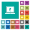 Laptop with Rupee sign square flat multi colored icons - Laptop with Rupee sign multi colored flat icons on plain square backgrounds. Included white and darker icon variations for hover or active effects.