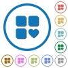 Favorite component icons with shadows and outlines - Favorite component flat color vector icons with shadows in round outlines on white background