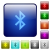 Bluetooth icons in rounded square color glossy button set - Bluetooth color square buttons