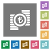 Turkish Lira coins square flat icons - Turkish Lira coins flat icons on simple color square backgrounds