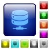 Network database icons in rounded square color glossy button set - Network database color square buttons