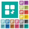 Pin component square flat multi colored icons - Pin component multi colored flat icons on plain square backgrounds. Included white and darker icon variations for hover or active effects.
