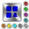 Component alert rounded square steel buttons - Component alert engraved icons on rounded square glossy steel buttons