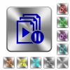 Pause playlist rounded square steel buttons - Pause playlist engraved icons on rounded square glossy steel buttons