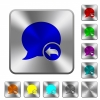 Reply blog comment engraved icons on rounded square glossy steel buttons - Reply blog comment rounded square steel buttons