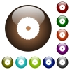 Circular saw color glass buttons - Circular saw white icons on round color glass buttons