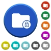 Lock directory beveled buttons - Lock directory round color beveled buttons with smooth surfaces and flat white icons