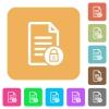Locked document flat icons on rounded square vivid color backgrounds. - Locked document rounded square flat icons